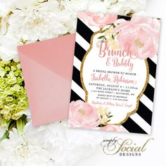 Peony Brunch and Bubbly Bridal Shower Invitation - Romantic Garden Floral Blush Pink and Gold Glitter Black and White Stripes Printable