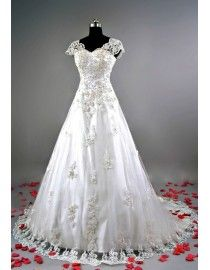 Junoseque illusion lace cap sleeve v-neck ivory lace appliques small champagne pearls beaded a-line court train real sample wedding dress  2014 TB-205