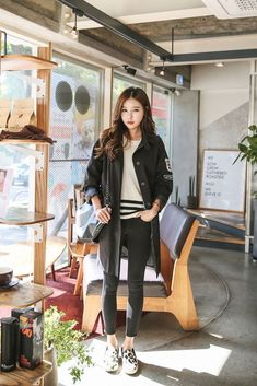 Shoulder Patch Long Coat   Korean Fashion