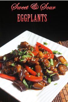 Sweet and Sour Eggplants Recipe - Yummy Tummy Sweet And Sour Eggplant Recipe, Eggplant Mushroom Recipe, Eggplant Tofu Recipe, Aubergine Recipe, Eggplant Recipes, Tofu Recipes, Mushroom Recipes, Vegetable Recipes, Asian Recipes