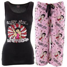 Betty Boop Super Star Black Capri Pajamas for Women - Click to enlarge