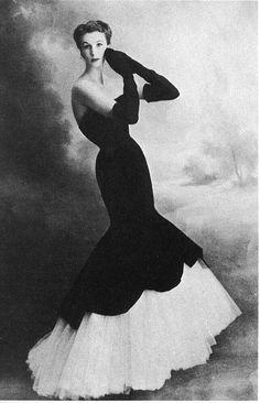 "Barbara Goalen wearing Balenciaga's velvet and tulle ""mermaid"" dress, 1951"