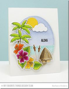 Tiki Party stamp set and Die-namics, Cloud Cover-Up Die-namics, Double Stitched Oval STAX Die-namics - Barbara Anders #mftstamps