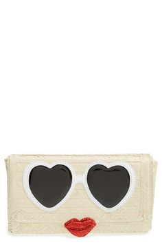 kate spade new york 'splash out' straw clutch available at #Nordstrom