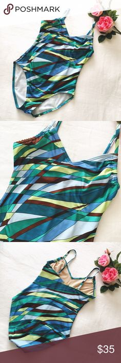 Michael Kors one piece bathing suit Beautiful blue 🦋 green 🍈 yellow 🍋 one piece bathing suit by Michael Kors. Size 10. Fits Medium. Gently worn, hand washed and in great condition. Please ask questions 💫 Michael Kors Swim One Pieces