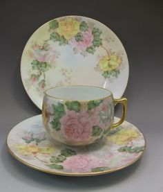 Vintage Hand Painted Thomas Bavaria Pink Yellow Roses Tea Cup Saucer Germany #ThomasBavaria