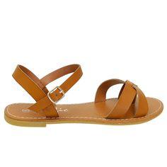 Walnot Tan Slip On Ankle Strap Sandals
