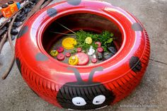 Kids' Play Space - a mother's journey: Tyre ladybird & bottle top insect friends Kids Outdoor Play, Outdoor Play Spaces, Kids Play Area, Outdoor Fun, Outdoor Learning, Backyard Planters, Backyard Play, Tire Planters, Natural Playground