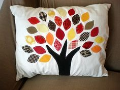 Dream Home: Scrap busting like a scrap buster- Easy fall pillow. I think I want to do one with green and white for spring.