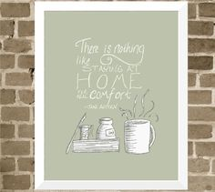 Jane Austen Quote - 11x14 Book Lover Word Art Home Print - Coffee Mug and Book Modern Illustration - Art for Kitchen
