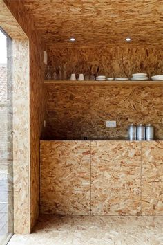 Nice use of OSB Oriented Strand Board Modern Interior Design, Interior Architecture, Chipboard Interior, Osb Wood, Oriented Strand Board, Wallpaper Wall, Barn Pictures, Barn Kitchen, Crazy Kitchen