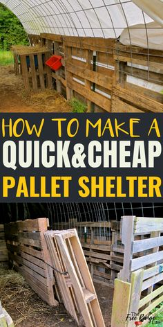 Learn how to make a quick pallet shelter that is quick and inexpensive! Great for a run-in shed for goats, horses, alpacas or any other farm animal! Pallet Barn, Pallet Shed, Pallet Fence, Barn Wood, Goat Shelter, Horse Shelter, Pallet Building, Building A Shed, Building Homes