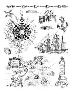 Viva Decor Clear Silicone Stamps Set - At the Seaside Viva Decor, Scrapbooking Album, Stencils, Water Paper, Tampons Transparents, Gilding Wax, Nautical Cards, Am Meer, Clear Silicone