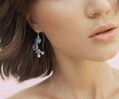 Handmade sterling silver dangle earrings blue by GOLDnBERG on Etsy