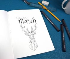 Hello March Geometric Art Page