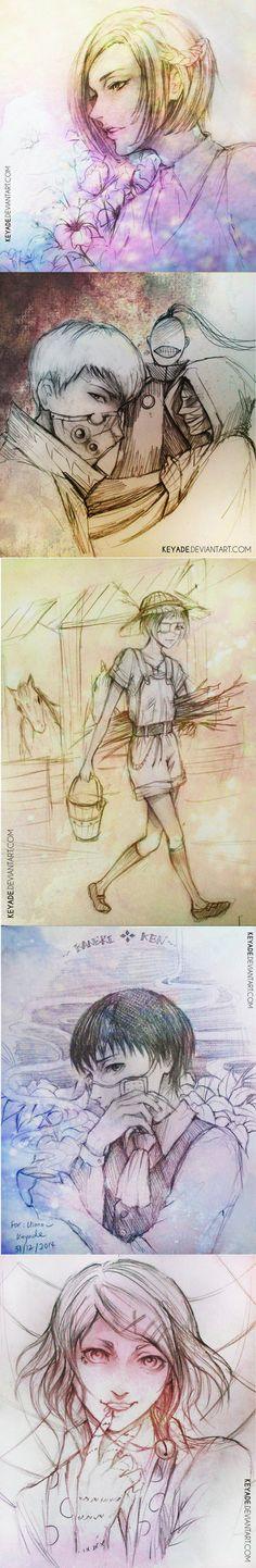 Tokyo Ghoul Sketch Dump 2     Akira, Tatara, Noro, Eto, Mutsuki, Kaneki, and Suzuya     Tokyo Ghoul Fan Art by Keyade on DeviantArt