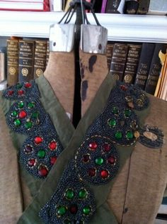 vintage antique french beaded trim - greys, ruby red and emerald green.