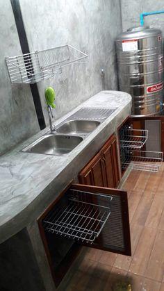 Small Home Remodel Designs Under 50 Square Meters - Di Home Design Dirty Kitchen Design, Kitchen Room Design, Outdoor Kitchen Design, Kitchen Interior, Kitchen Decor, Dirty Kitchen Ideas, One Wall Kitchen, Loft Kitchen, Kitchen Sets