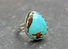 natural Royston turquoise cocktail ring
