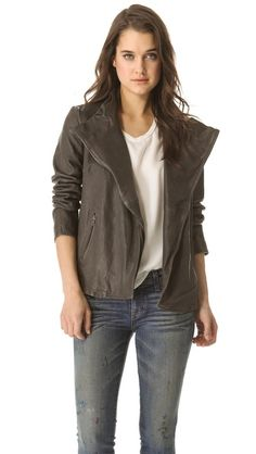 Brochu Walker Lambskin Leather Jacket in Cinder [$795 at Perch]