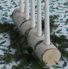 Items similar to Advent Season Candle Holder Yule Log Birch Natural Christmas on Etsy Christmas Log, Natural Christmas, Christmas Crafts, Christmas 2019, Wood Log Crafts, Log Centerpieces, Pagan Yule, Log Candle Holders, Log Decor