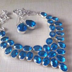 NEW London blue topaz gemstone free matching ergs Beautiful handcrafted necklace London blue 18' 925 stamped inlay lab created faceted stones GORGEOUS NWOT free matching earrings with purchase Jewelry Necklaces