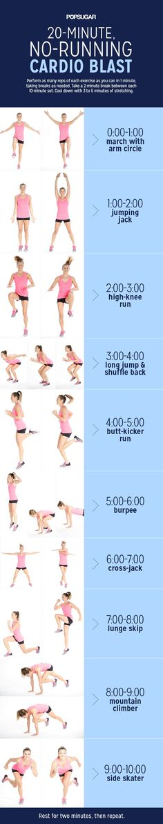 Cardio Workout Routine: Workout At Home With This 20-Minute No-Running Cardio Blast Exercise. #nogymneeded