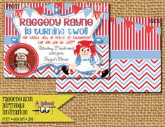 Raggedy Ann Birthday Party Invitation DIY by APlumHoot on Etsy Birthday Party Invitations, Birthday Party Themes, Birthday Ideas, Diy Party, Party Ideas, Lauren Kate, Raggedy Ann And Andy, Holiday Decorations, 4th Birthday