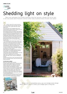 from Luxe March April 2015 Shed Decor, Retro Pictures, She Sheds, North Yorkshire, Icon Design, Make It Simple, March, Lady, Outdoor Decor