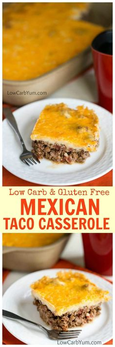 A unique low carb Mexican taco casserole bake that's sure to be a winner. It's got a spicy ground meat base topped with a cheesy mashed potato-like topping. | LowCarbYum.com