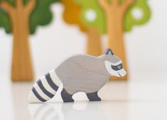 Wooden Racoon toy Kids animal toys Wild animal toys Miniature animal figurines Handmade Eco Friendly Toddler toy