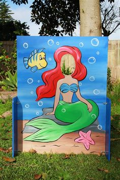 Ariel, The Little Mermaid height from floor to center of face - 930 mm The Little Mermaid & Spiderman Pictures are on one cut-out board back to back. Size of cut-out Boards - 1240mm x 940mm