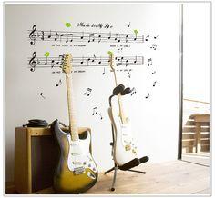 1 conjunto grande tamanho 70 * 120 cm música adesivos música é minha vida Theme Music quarto Decor & dança música nota parede adesivo