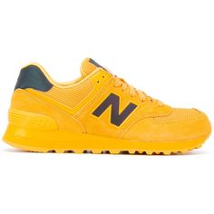 New Balance 574 sneakers ($87) ❤ liked on Polyvore featuring shoes, sneakers, yellow, new balance shoes, new balance footwear, genuine leather shoes, new balance and yellow shoes