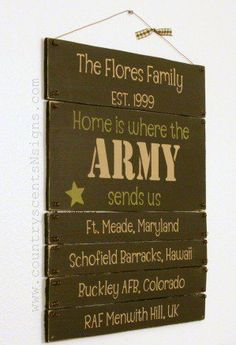 home is where the army sends us  :) super cute, gonna change it up a bit to our situation.