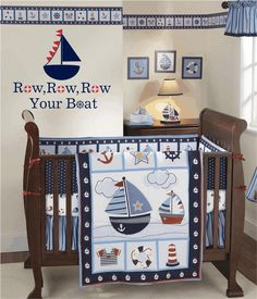 "Row Row Row Your Boat Vinyl Wall Decal - Nautical Sailboat Vinyl Wall Decal for Boy Baby Nursery or Room 22""H x 28""W Wall Art FS134. $39.00, via Etsy."