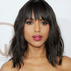 Olivia Pope 12Inch 130 Density Natural Synthetic Black Wavy Short Bob Wigs W/ Bangs