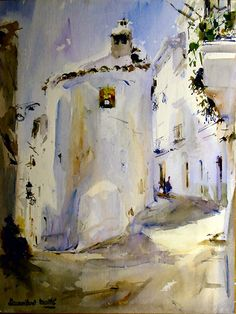 blancos de lucena - Laurentino Marti Marti, City Scene, Spanish Artists, Watercolor Paintings, Watercolors, Museum, Paintings, Drawings, Water