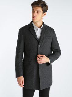 Cappotto pesante misto lana - Nero. Tasche frontali ... c7e9f12b872