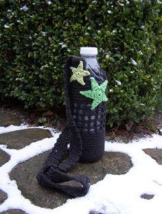 Halager: DIY - Hæklet taske til vandflaske med stjerner og blomster