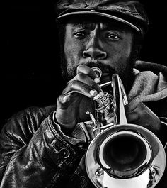 Trumpeter 2 by Hiroshi Jinza Black Like Me, Black And White, Trumpet Tattoo, Music Is Life, Music Class, Trumpet Music, Music And Movement, Music Pictures, Jazz Blues