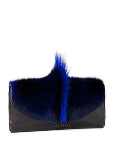 Bold envelope leather clutch - Blue | Bags | Ted Baker UK