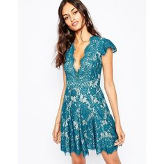 The Jetset Diaries Fantasia Plunge Skater Dress in Teal (108 AUD) ❤ liked on Polyvore featuring dresses, green, skater dress, teal green dress, green dress, blue cap sleeve dress and green lace dress