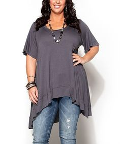 Another great find on #zulily! Charcoal Sidetail Tunic - Plus #zulilyfinds