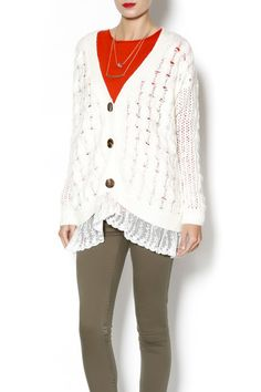 Ivory and lace cardigan, gotta have it! Get it now at our shoptiques page