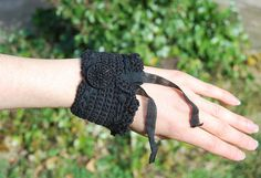 Black Crochet Cuff / Bracelet / Bangle by Kardalore on Etsy