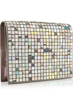 Maison Martin Margiela | Embellished iridescent patent-leather clutch | NET-A-PORTER.COM