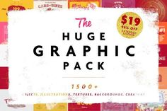 HUGE GRAPHIC PACK • 98% OFF by Vintage Voyage Design Co. on @creativemarket I really like this bundle. Tons of useful stuff.