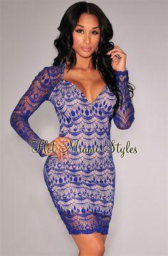Royal-Blue Optical Lace Nude Illusion Dress