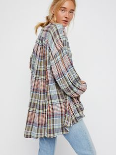 Come Over Buttondown Top | Super soft and oversized plaid buttondown featuring allover pleat detailing.   * V-neckline * High-low hem